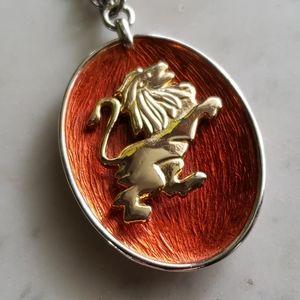 Vintage Leo Lion Pendant Necklace Zodiac